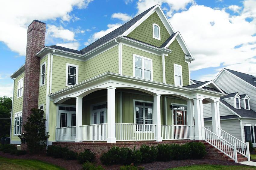 Green Siding, Trim, New Windows